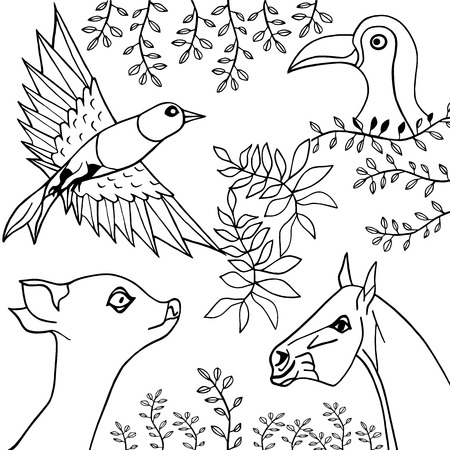 Hand Draw Black White Collection Of Animals Birds And Plants