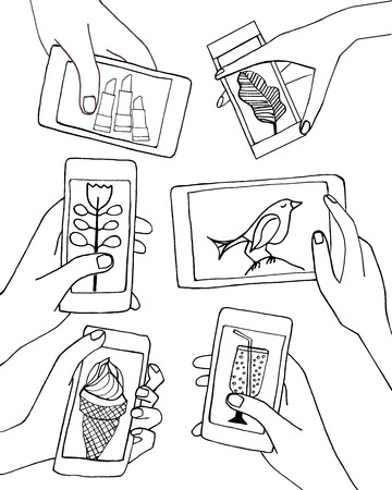 pomade: Hand draw vector hands holding smart-phones and tablets illustration