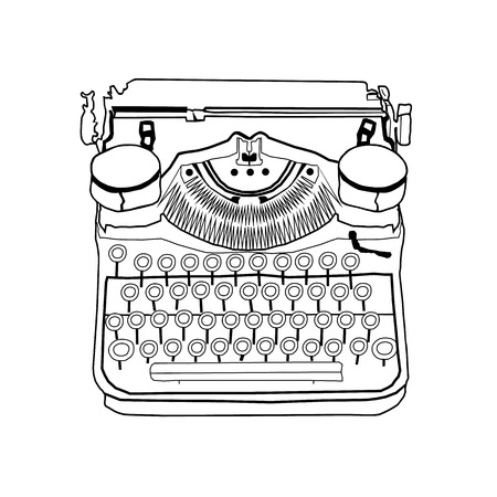 classic authors: Hand drawn vector typewriter line drawing in black and white sketch Illustration