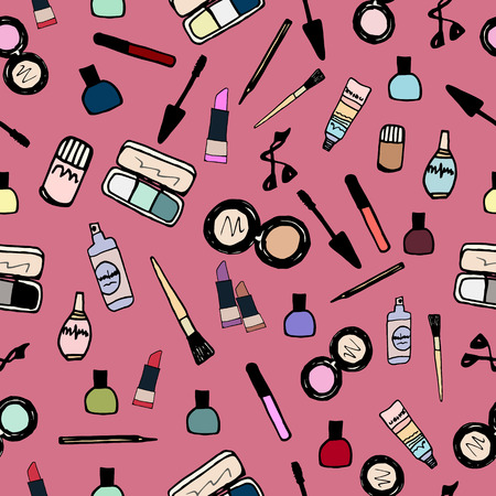 eye shadows: Seamless color pattern with make up artist objects lipstick, nail, perfumes, eye shadows, brushes, mascara, powder, eyeliner. Hand drawn vector beauty background. Cosmetics products icons Illustration