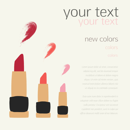 color swatches: Lipstick Swatches Flat Vector Templates for design, banner, cards, invitations, scrapbooking and others Illustration