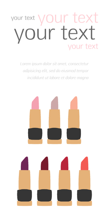 swatches: Flat Lipstick Swatches fashion templates vector for design, banner, cards, invitations, scrapbooking and others Illustration