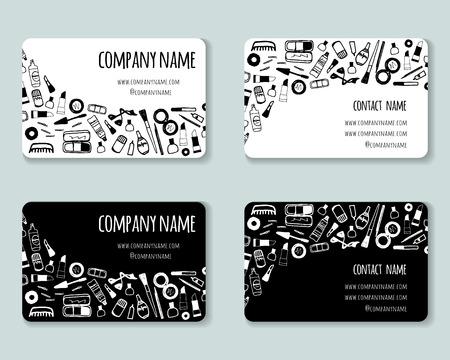 Las tarjetas de visita creativas plantilla con artículos de belleza cosméticos. Conjunto de 2 tarjetas del diseño negro del vector blanco. Para salones de belleza, tiendas, maquilladores, peluqueros y estilistas.