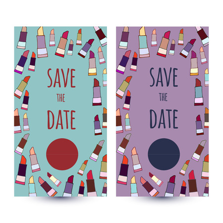 Vector card templates save the date, used for wedding invitation, thank you card, baby shower, mothers day, valentines day, birthday cards, invitations. Иллюстрация