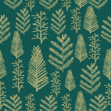 holiday celebrations: Seamless pattern gold christmas tree fir pine on green background. Vector illustration