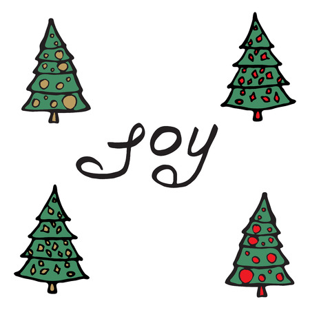 Cartoon fir-tree Christmas tree. Greeting card - joy. Merry Christmas background with typography, lettering. Illustration