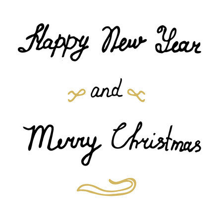 decrepit: Lettering Happy New Year Merry Christmas  Xmas card calligraphy  greeting card. holiday  illustration