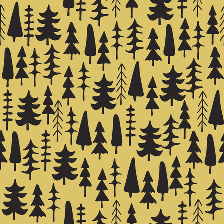 fir trees: Fir tree seamless pattern colorful. Vector illustration. Christmas trees. Happy New Year background. Winter holidays. Illustration