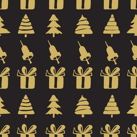hand bells: Seamless patterns with hand bells, gift boxes and christmas trees,  fir-tree decoration vector illustration. Christmas elements.