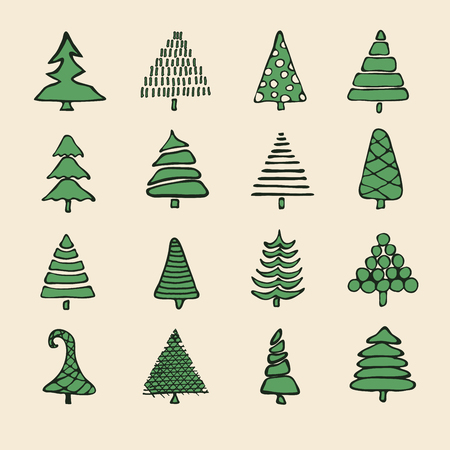 green line: Icons Set of vector hand drawn cartoon Christmas tree, New Year, greeting cards xmas tree. Isolated vector for holiday backgrounds, flyer, invitation, banner, design cards, scrapbooking