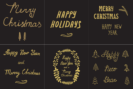 christmas party people: Set greeting card hand drawn fir tree branches with Xmas calligraphy Lettering Happy Holidays, New Year and Merry Christmas. Handwritten holiday vector illustration
