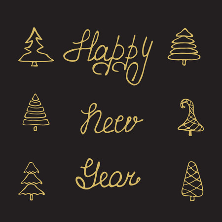decrepit: Christmas hand drawn fir tree branches with calligraphy greeting card. Lettering greeting card Happy New Year. Handwritten holiday vector Illustration