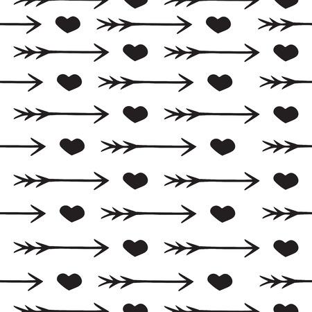 Amour seamless pattern coeurs et flèches romantiques, impression pour la Saint-Valentin et de mariage, carte d'invitation, fond, conception, papier d'emballage et d'autres