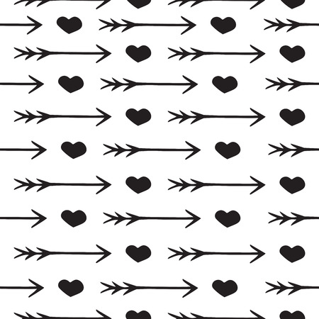 written: Love seamless pattern romantic hearts and arrows, print for Valentines Day and Wedding, invitation card, background design, wrapping paper and other