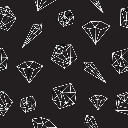 diamonds on black: Seamless pattern vector geometric crystals. Trendy hipster retro background with minerals and diamonds black and white hand drawn Illustration