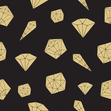 diamonds on black: Seamless pattern vector geometric crystals. Trendy hipster retro background with minerals and diamonds black and gold hand drawn