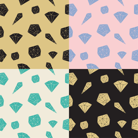 diamonds on black: Set seamless pattern vector geometric crystals. Trendy hipster retro background with minerals and diamonds black and gold hand drawn Illustration