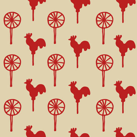 sugary: Seamless pattern cock lollipop vector red sweetmeats on a yellow  gold background Illustration