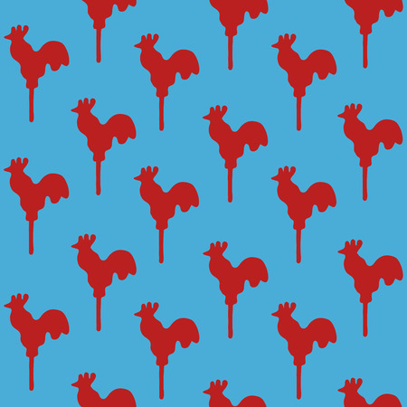 sweetmeats: Seamless pattern cock lollipop vector red sweetmeats on a blue sky background