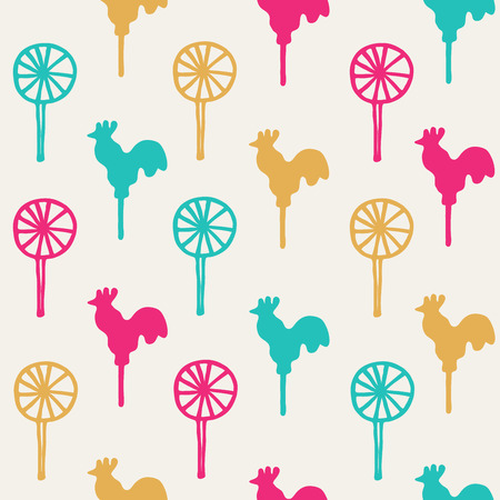 sweetmeats: Seamless pattern cocks lollipops vector color sweetmeats on a yellow background Illustration