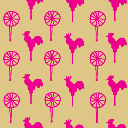 sweetmeats: Seamless pattern cocks lollipops vector neon pink sweetmeats on a gold background Illustration