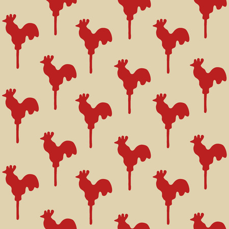 sweetmeats: Seamless pattern cock lollipop vector red sweetmeats on a yellow  gold background Illustration