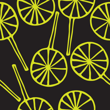sweetmeats: Seamless pattern lollipops vector sweetmeats lime on a black  background Illustration
