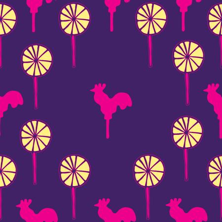 sweetmeats: Seamless pattern cocks lollipops vector neon pink sweetmeats