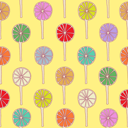 sugary: Seamless pattern lollipops vector sweetmeats colors hand drawn
