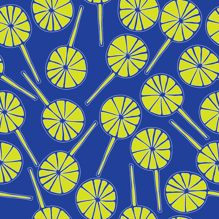 sweetmeats: Seamless pattern lollipops vector sweetmeats lime on a blue  background