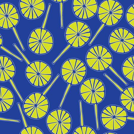 sweetmeats: Seamless pattern lollipops vector sweetmeats lime on a blue  background