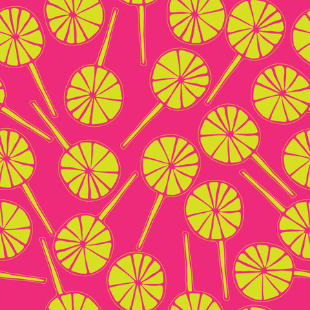 sweetmeats: Seamless pattern lollipops vector sweetmeats lime on a magenta  background