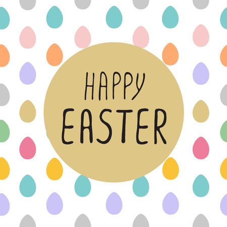 ester: Happy Easter greeting card with lettering, design  illustration , holiday symbol. Seamless border of easter eggs. Illustration
