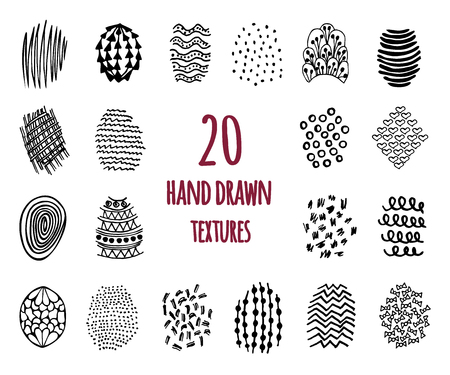 fabric textures: Set of 20 hand drawn textures design elements, doodles patterns of pen art and pencil, isolated.