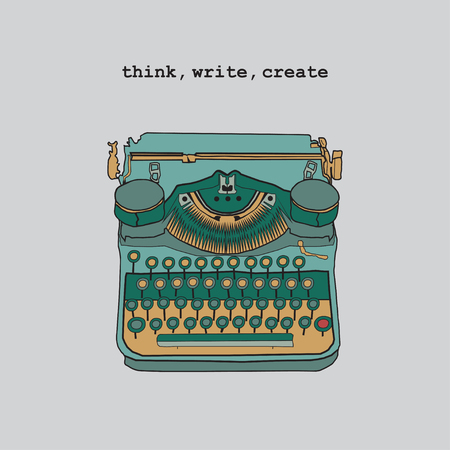 scriptwriter: Vintage illustrations of retro typewriter, inspire writers, screenwriters, copywriters and other creative people. Think, write, create.