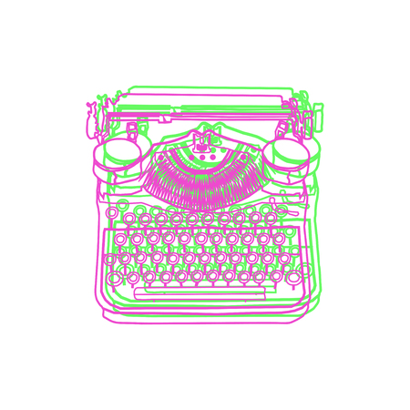 Vintage illustrations of retro typewriter, inspire writers, screenwriters, copywriters and other creative people.