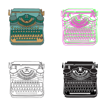 typewriter key: Set of 4 vintage retro typewriters, illustrations, inspire writers, screenwriters, copywriters and other creative people.