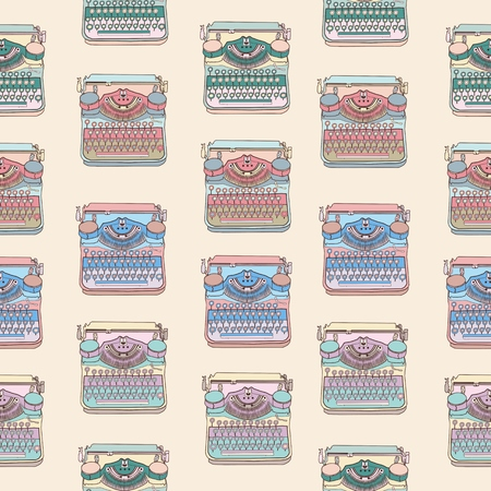 writers: Seamless pattern with vintage typewriters, vector illustrations, inspire writers, screenwriters, copywriters and other creative people.