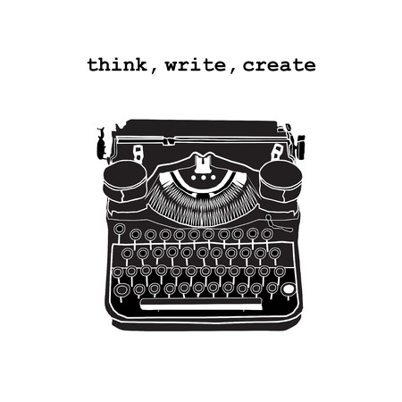scriptwriter: Vintage vector illustrations of retro typewriter, inspire writers, screenwriters, copywriters and other creative people.