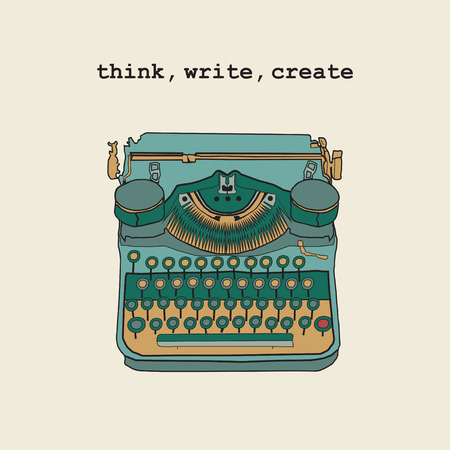 writers: Vintage vector illustrations of retro typewriter, inspire writers, screenwriters, copywriters and other creative people.