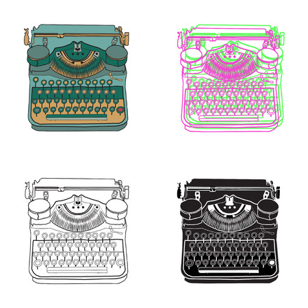 scriptwriter: Set of 4 cards vintage typewriters, vector illustrations, inspire writers, screenwriters, copywriters and other creative people.