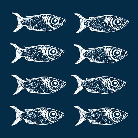 mackerel: Hand drawn sketch set of fish vector illustration Illustration