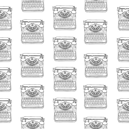 type writer: Seamless pattern with vintage typewriters, vector illustrations, inspire writers, screenwriters, copywriters and other creative people.