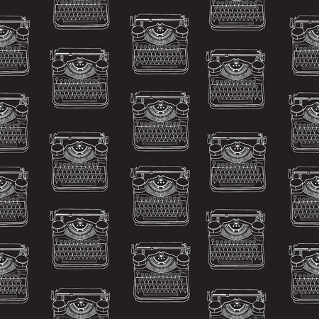 scriptwriter: Seamless pattern with vintage typewriters, vector illustrations, inspire writers, screenwriters, copywriters and other creative people.