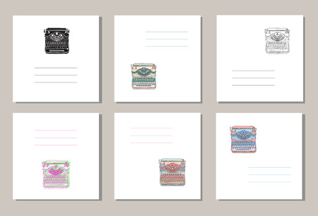 writers: Set of 6 creative covers or universal cards with hand drawn vintage typewriters, inspire writers, screenwriters, copywriters and other creative people.