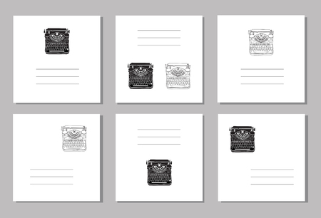 Set of 6 creative covers or universal cards with hand drawn vintage typewriters, inspire writers, screenwriters, copywriters and other creative people.