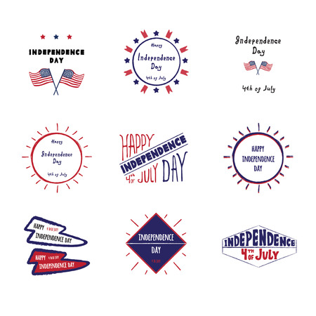 Set of vector label Independence day of the United States, 4th of July greeting card with hand drawn lettering typography isolated.