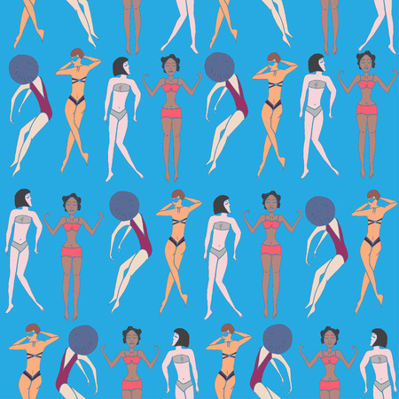 doodled: Summer seamless pattern of doodled women and girls in swimsuits enjoying holidays on the beach. Vector illustration.