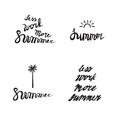 work less: Set of summer holidays labels with sun, palm tree, isolated on white background. Summer elements for cards, poster, icon, emblem, quote. Brush pen handwritten lettering inspirational typography - Less work More summer - with sun and palm.