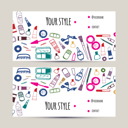 makeup artist: Makeup artist business card. Invitation template with beauty items - brush, pencil, eyeshadow, lipstick, mascara. Vector dark colorful design for salons, shops, artists, hairdressers, stylists etc